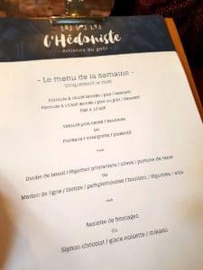 Carte du restaurant L'Hédoniste à Strasbourg