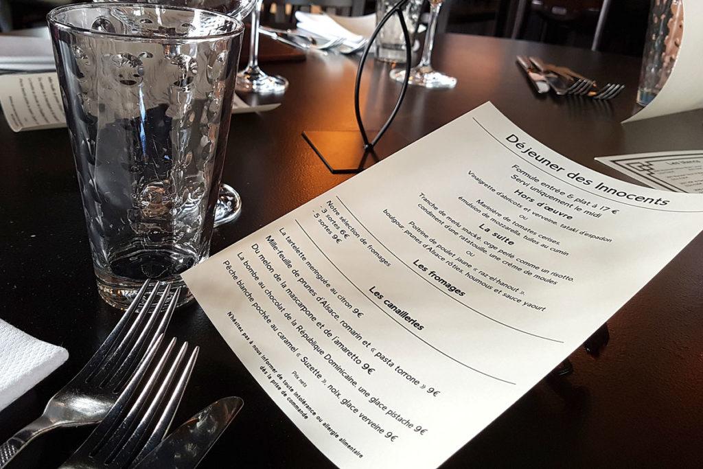 Menu de midi du restaurant Les Innocents
