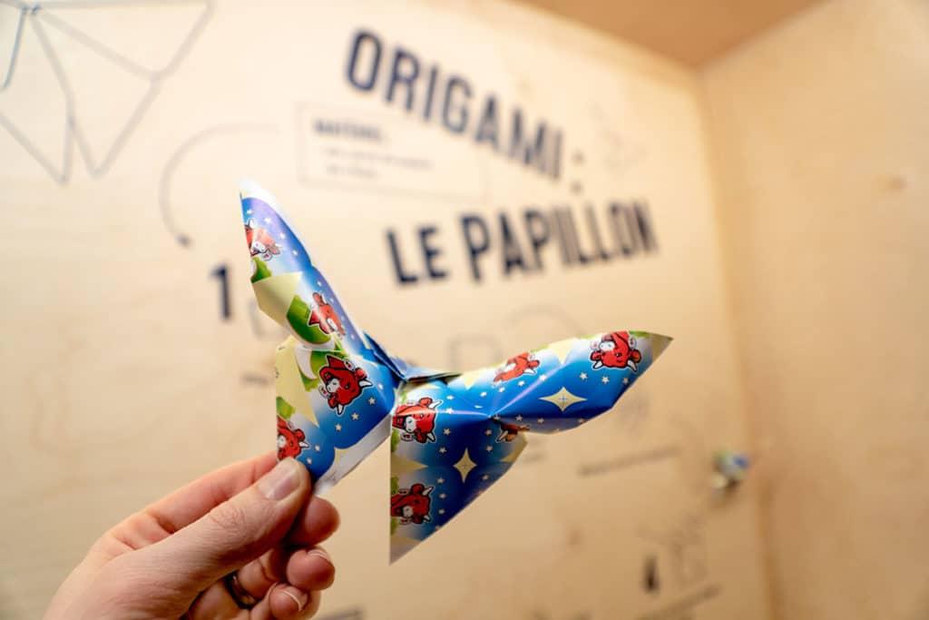 Origami papillon avec une emballage de Vache qui rit
