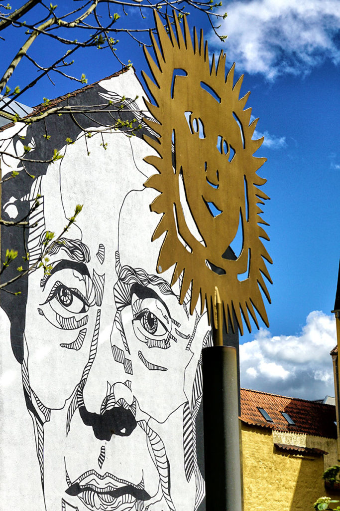 Soleil d'Andersen et graffiti à Odense