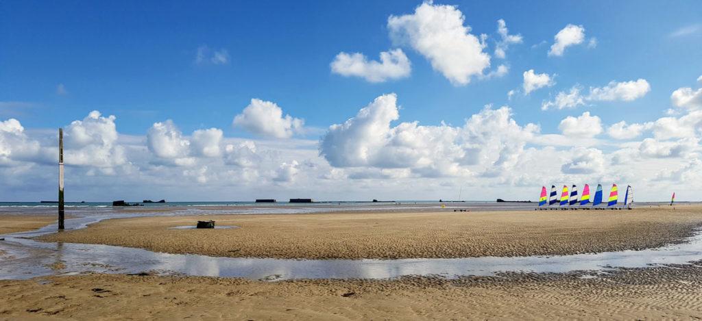 Chars à voile plage d'Arromanches