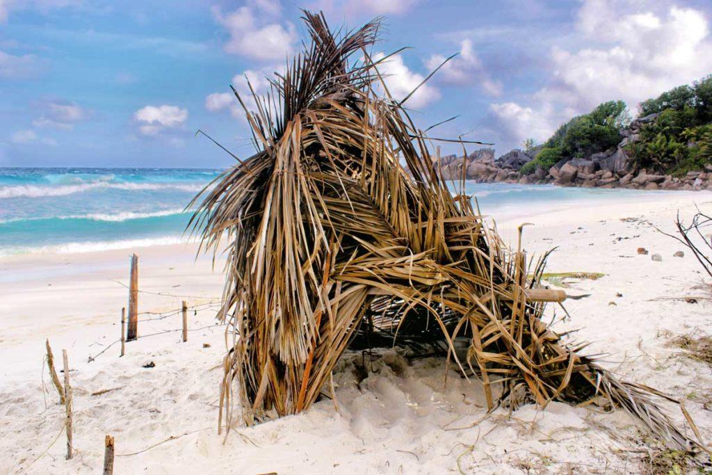 Cabane de pêcheur sur une plage des Seychelles