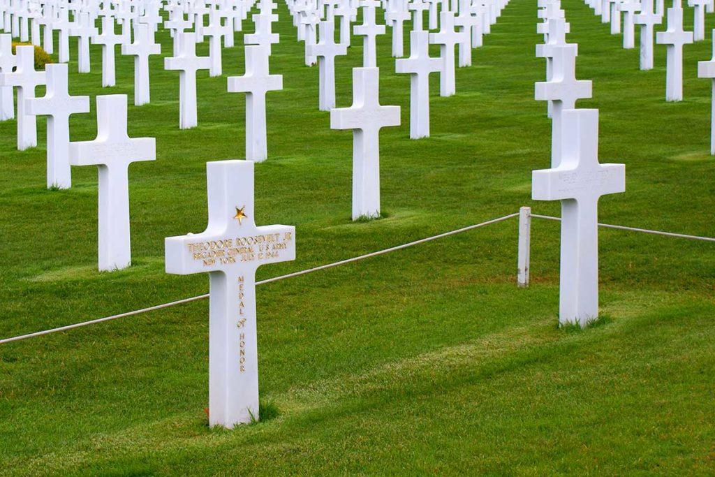 Stèle du Général Roosevelt Junior au cimetière américain