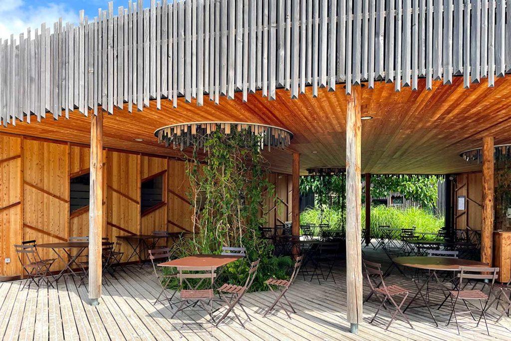 Terrasse du bar du camping de Strasbourg